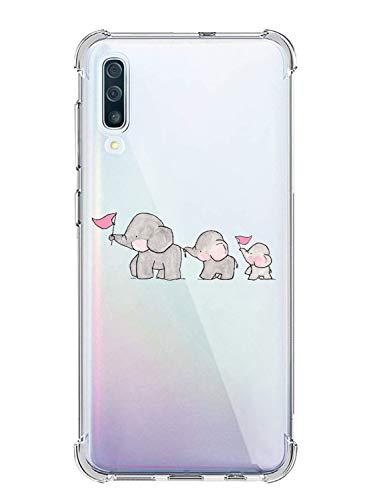 Oihxse Silicona Funda con Xiaomi Mi 8Se TPU Flexible Suave Transparente Protector Estuche Airbag Esquinas Reforzadas Ultra-Delgado Elefante Patrón Anti-Choque Caso (C8)