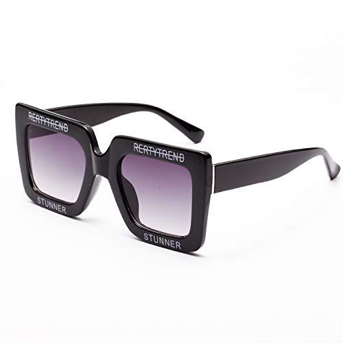 sunglasses brands Unisex Big Shiny Sunglasses For Women Brand Letter Square Frame Brand Sun Glasses Designer Fashion Female Shades Oculos