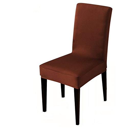 UIRK Esszimmer Stretch Stuhlhussen,Modern Dining Chair Protector Dunkler Kaffee Einfarbig Klassisch Abnehmbare Waschbare Elastische Stuhlsitzbezüge Für Hotelhochzeitsbankett, 2 Stück/Packung