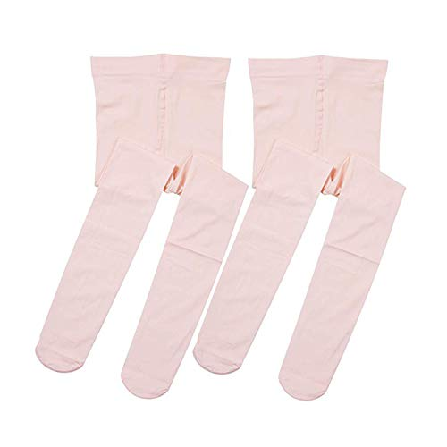 Ballet Tights Ultra Soft Dance Tights for Girls,2 Pairs Girls Ballet Dance Footed Tights (L (8-12 Years), Ballet Pink)