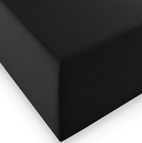 sleepling Komfort Jersey-Elastic Stretch Spannbettuch Spannbettlaken für Matratzen bis 30 cm Höhe (215 gr. / m²) mit 3% Elastan 180 x 200-200 x 220 cm, schwarz