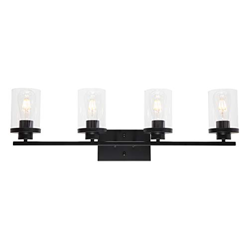 ELUZE 4-Lights Bathroom ,Black Vintage Vanity Lighting with Clear Glass Shade Wall Mount Lamp for Bedroom Stairs Hallway Kitchen Vanity Mirror and Foyer