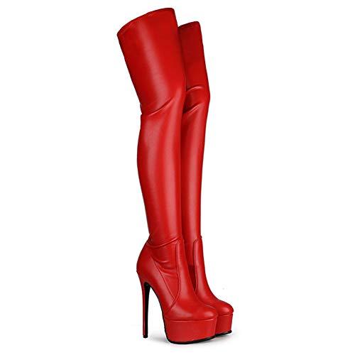 ZHIRCEKE Botas de piel para mujer, elegantes y sexys hasta el muslo por encima de la rodilla, altura del talón, 15 cm de alto, elásticas sobre la rodilla, para discoteca, bar, baile, fiesta, rojo, 43