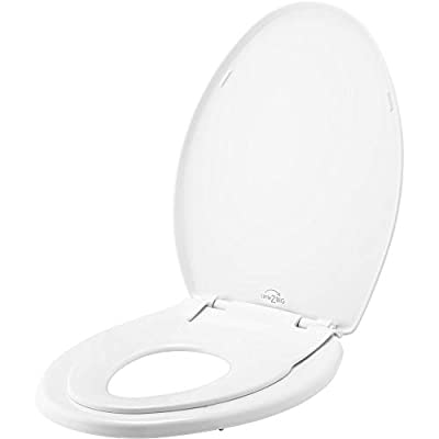 Little2Big 181SLOW 000 Toilet Seat with Built-In Potty Training Seat, Slow-Close, and will Never Loosen, ELONGATED, White