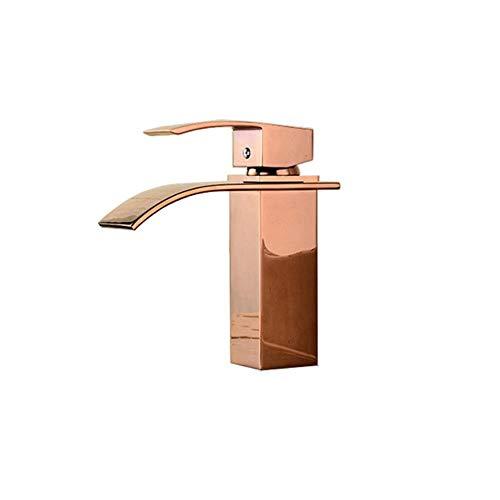 Acabado en cromo baño grifo mezclador de la cascada/Rosa de Oro Lavabo grifo sola manija de la grúa elegante para baño, de oro rosa