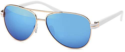 17 modelos mujeres Aviadores gafas de sol de aviador gafas de sol 70s (blanco y azul)