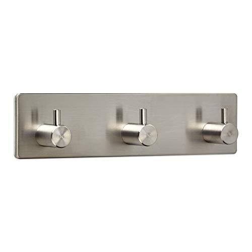 3 x Garderobenhaken PANDORA 3-fach (180 x 45 x 29 mm) Edelstahl rostfrei selbstklebend 3M für Küche & Bad Hakenleiste Handtuchhalter von SO-TECH®