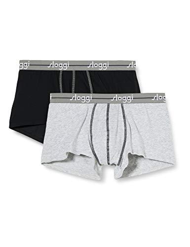 Sloggi Men Start Hipster Boxers,Set of 2, Grigio/Nero, XX-Large (Manufacturer Size: 40)
