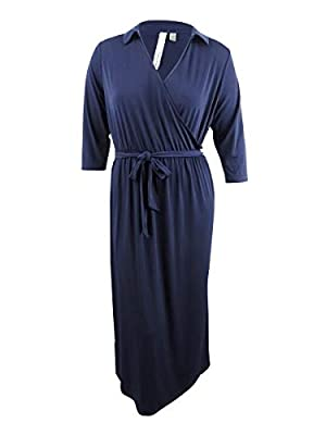 NY Collection Womens Plus Faux-Wrap A-Line Maxi Dress Navy 2X