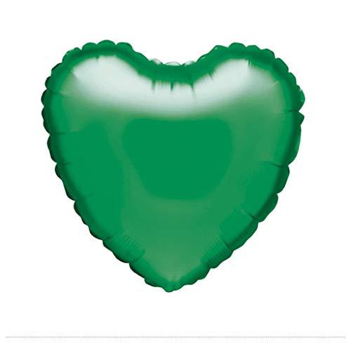 Gran Festival - Globo de foil corazón 45x49 cm + tubo inflador verde