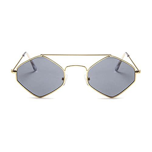 LeftSuper Gafas de Sol Gafas de Sol de Metal hexagonales Retro Chao REN Gafas de Sol de Diamante con Montura pequeña Gafas de Sol de Doble Haz con Lentes de océano