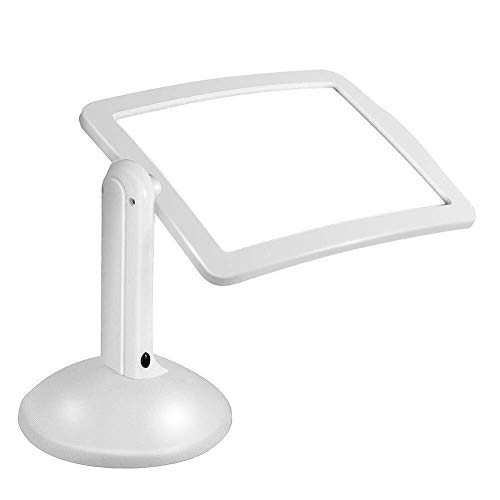 YIONGA CAIJINJIN ingrandimento LED Light 3X Vetro Mani Libero con Illuminato Stand e Desk Riparazione da Tavolo Lampada Rettangolare ingrandimento for la Lettura Needlework Hobby e Mestieri Ufficio
