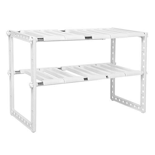 Kastplank 2-laags staand rek Stapelbare keukenkast Organizer voor bijkeuken, kast, aanrecht