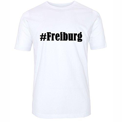 T-Shirt #Freiburg Größe 2XL Farbe Weiss Druck schwarz