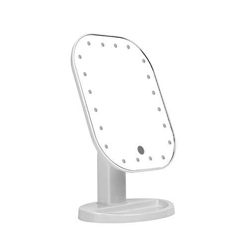 chenruihua Maquillage Femmes Miroir Maquillage Abs LEDs Lumière Carré Cosmétique Dames Support De Bureau Marque Up Mirrors E White