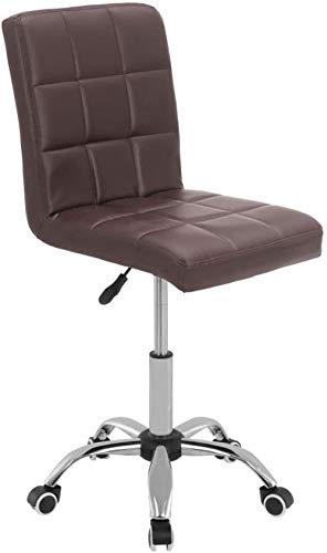 Silla de oficina moderna para computadora pequeña ajustable de piel sintética, giratoria, giratoria, alta ajustable, sillas de escritorio para ordenador, sillas de recepción (marrón)