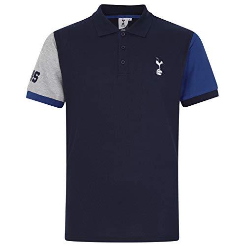 Tottenham Hotspur FC - Polo Oficial para Hombre - con el Escudo del Club - Azul Marino - Mangas en Contraste - XXL