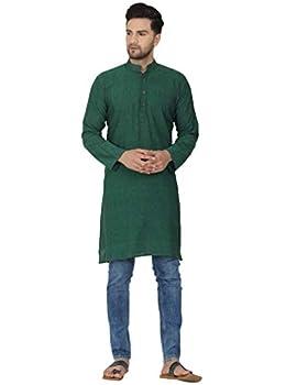 SKAVIJ Men s Tunic Cotton Long Kurta Casual Shirt Regular Fit  X-Large Green