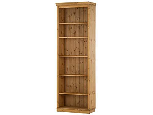 Loft24 Bücherregal Kiefer Massivholz Regal Landhaus Büroregal Standregal Aktenregal Ordnerregal 6 Fächer gebeizt geölt (1 Regal, 74 x 34 x 219 cm)