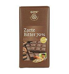 GEPA Zarte Bio Bitter Schokolade 70% Kakao - 1 Karton (10 x 100g)