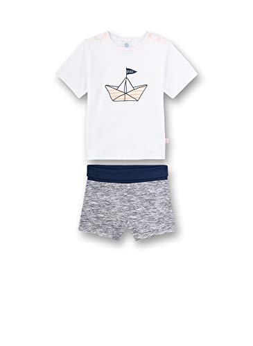 Sanetta Baby-Jungen Pyjama kurz Zweiteiliger Schlafanzug, Weiß (weiß 10), 74 (Herstellergröße:074)