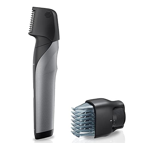 Panasonic Body Groomer for Men, Wet/Dry Cordless Electric Body Hair Trimmer with 2 Comb Attachments, Multi-Directional Shaving in Sensitive Areas, ER-GK80-S (Silver)