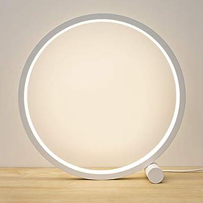 1. Lámpara de escritorio LED minimalista de diseño moderno con círculos, lámpara de mesa de diseño moderno para decoración de dormitorio, lámpara de noche para salón, oficina, con cable USB. Diámetro de la lámpara: 25 cm 2. [Material aluminio metal c...