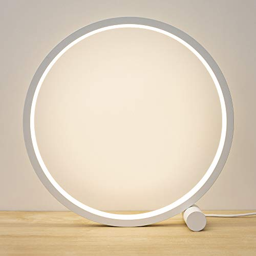 Cool Circle Design Led Table Reading Lamp Desk Light, Modern Metal Bedroom Bedsie Lamp Eye Caring Study Lamp Kid Room Nightstand Headboard Living Room Daylight White