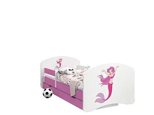 Happy Babies - Doppelseitiges PINK Kinderbett MIT SCHUBLADE Modernes Design mit sicheren Kanten und Absturzsicherung Schaumstoffmatratze 7 cm (21. Rosa Meerjungfrau, 160x80)