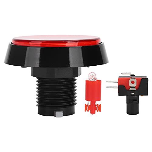 fasient1 Interruptor de botón pulsador, 12V 10A 60 mm Interruptores de botón pulsador de botón Plano Redondo Grande con luz LED Interruptor de 3 pies Interruptor de botón para máquina de Juego (Rojo)