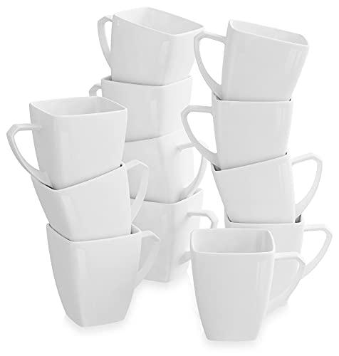 MALACASA, Série Blance, 12pcs Services à Café Porcelaine, Services à Thé, Tasses Porcelaine Tasse à Café Mugs