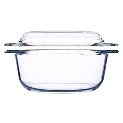 Cabilock Recipientes de Vidrio para Almacenamiento de Alimentos Olla de Vidrio Resistente Al Calor Horno de Microondas Recipiente de Vidrio con Tapa Olla de Sopa Recipientes de Preparación