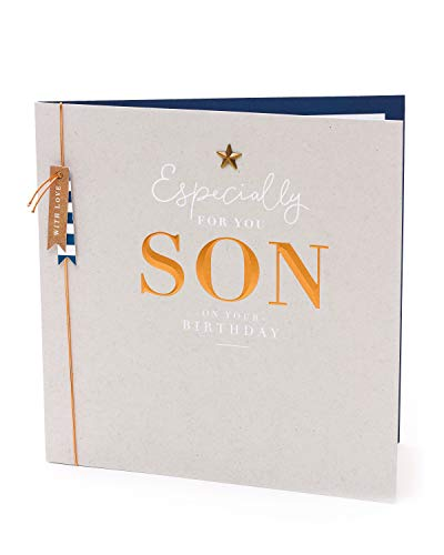 Son Birthday Card - Birthday Cards for Men - Birthday Card for Him - Contemporary Gold Lettering Design
