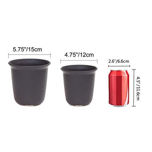 T4U 15CM プラスチック製 植木鉢 多肉植物 サボテン鉢 トレイ付き ダークグレー 10点セット