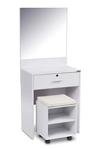 ts-ideen Schminktisch Frisiertisch Frisierkommode Schminkkommode Schlafzimmer Kommode mit XXL Spiegel, abschließbarer Schublade und Hocker mit Rollen - in Weiß