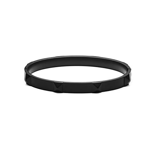 MVMT Women's Stud Bangle Bracelet | Clasp Closure, Stainless Steel | Black