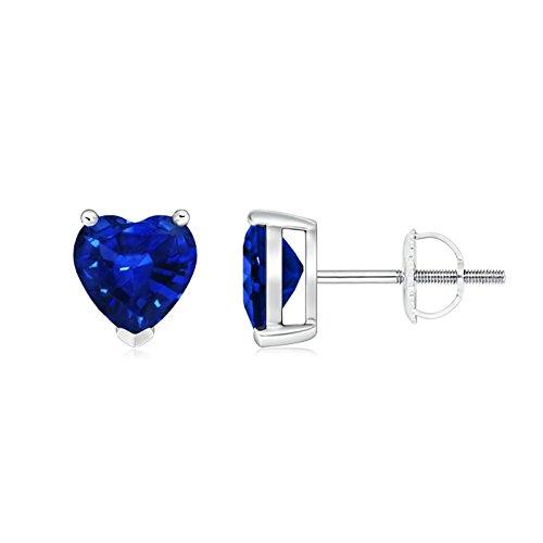 Regalo per le donne – 3 poli solitario blu zaffiro cuore orecchini (5 mm zaffiro blu) e Oro bianco, colore: Blu/argento., cod. ANG-E-SE0255S-WG-AAAA-6