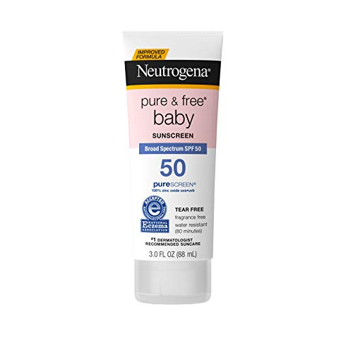 Neutrogena Pure & Free Baby Mineral Sunscreen Lotion with Broad Spectrum SPF 50 & Zinc Oxide, Water-Resistant, Hypoallergenic & Tear-Free Baby Sunscreen, 3 fl. oz