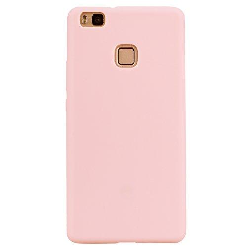 cuzz Funda para Huawei P9 Lite+{Protector de Pantalla de Vidrio Templado} Carcasa Silicona Suave Gel Rasguño y Resistente Teléfono Móvil Cover-Rosa Claro