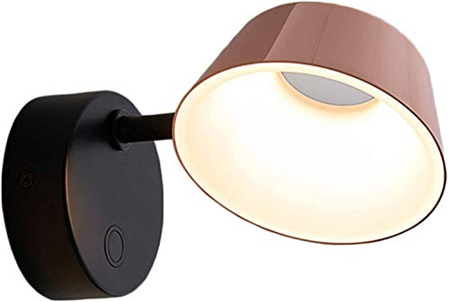 GIOAMH Lámpara de pared LED, aplique de pared ajustable de oro rosa, blanco cálido, lámpara de pared decorativa de metal para mesita de noche, dormitorio, pasillo, sala de estar