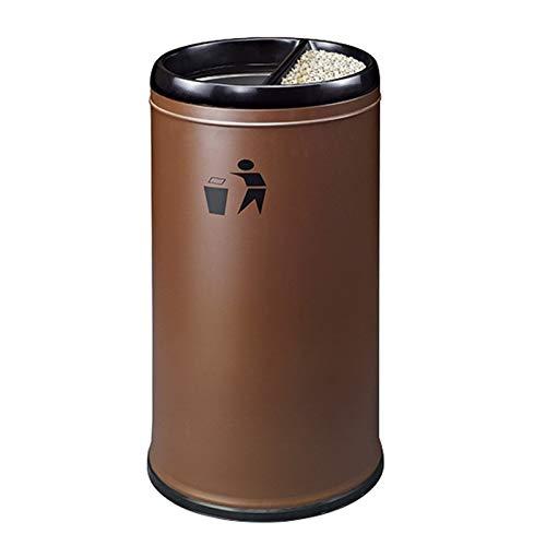 Cubo de basura para interiores y exteriores, con cenicero redondo de acero inoxidable, cubos de reciclaje sin tapa, para el hogar, la oficina, la cocina, papelera (color: marrón)