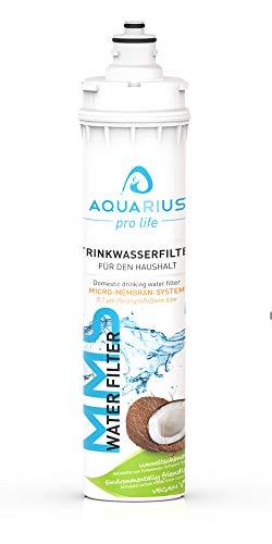 AQUARIUS pro life Trinkwasserfilter - Ersatzkartusche für unseren Einbauwasserfilter - 0,1 Mikron Porengröße - Micro-Membran-System - bis zu 11.200 Liter/Jahr - Aktivkohlefilter + Keimsperre