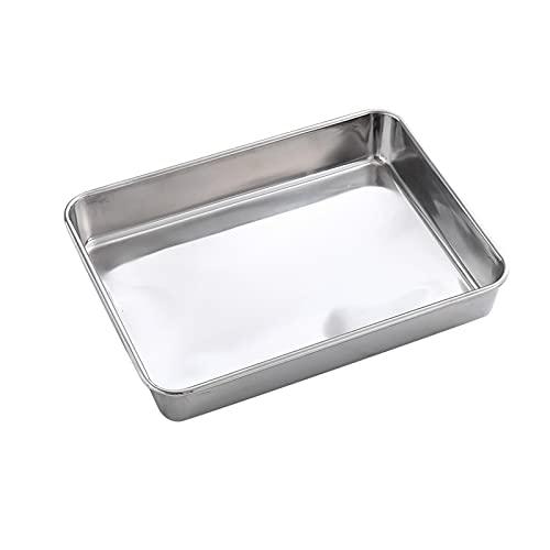 POHOVE Molde rectangular para tartas de Lasaña, 30 x 22 cm, bandeja para hornear de acero inoxidable, sartenes para horno tostador, duradero, acabado cepillado y apto para lavavajillas
