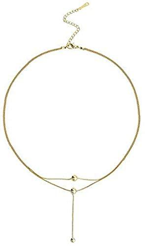 WYDSFWL Collar Bola Redonda Largo Doble Collar Mujer