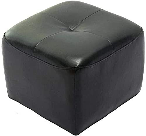 MAMINGBO Taburete de Calzado Cambio de heces cómodas sillas Taburete Banco de Zapatos de la PU del Asiento del hogar Cubo reposapiés tapizados otomana 42 42 34cm Durable Fuerte (Color : Negro)