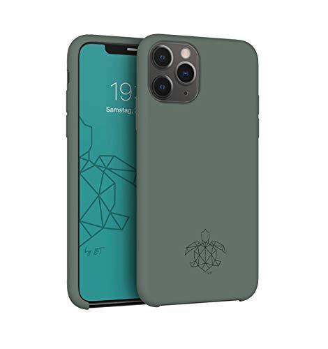 turtleandcase Hülle Kompatibel mit iPhone 11 Pro & kostenlosem Panzerglas, Silikon oder Stoff Handyhülle, Dünne Schutzcase & Stoßfest für iPhone 11 Pro 5,8 Zoll (Piniengrün)