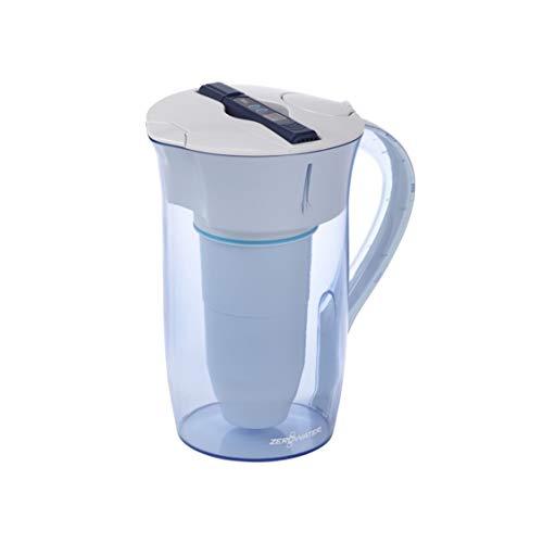 ZeroWater Caraffa filtrante per acqua 2,4L, Rotonda, filtro e misuratore della qualitá dell'acqua inclusi, Plastica priva di BpA e certificato per la Riduzione di Piombo e Altri Metalli Pesanti
