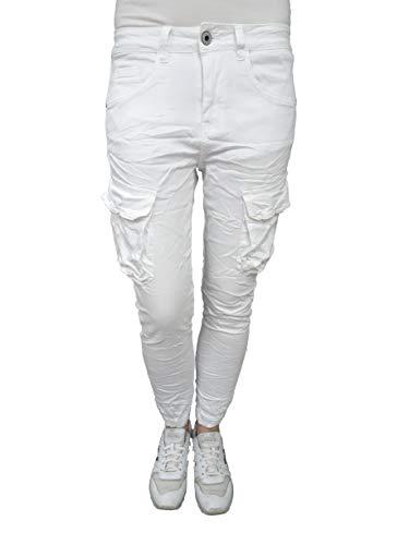 Jewelly by Lexxury Pantalones Cargo elásticos para Mujer, Bolsillos Laterales, Militar