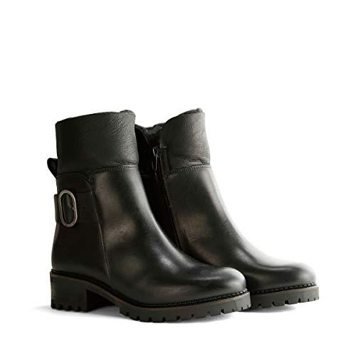 Travelin' Gete Damen Ankle Boots - aus Leder & 100% Wolle Gefüttert - Schwarz EU 40