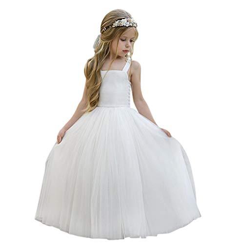 Robe de soirée Chic, Kolylong Costume Carnaval Fille Deguisement Princesse Robe pour Fête Événement Blanc 100